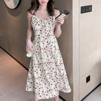 Spaghetti Strap Floral Printed A-Line Midi Dress - White Multicolor