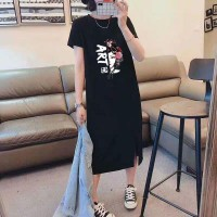 Alphabetic Graphic Printed Round Neck Mini Dress - Black