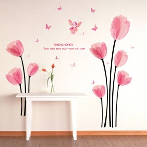 Wall Sticker Pink Tulip Wall Decals Bedroom Living Room Background
