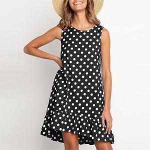 Sleeveless Polka Dot Printed Frilled Hem Mini Dress - Black