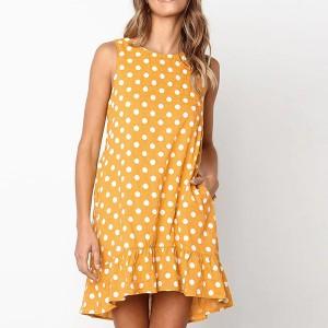 Sleeveless Polka Dot Printed Frilled Hem Mini Dress - Yellow