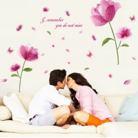 Blooming Flower Romantic Wall Decor Sticker For Living Room Bedroom