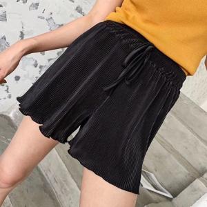 Elastic Waist Loose Wear Ribbed String Waist Shorts - Black