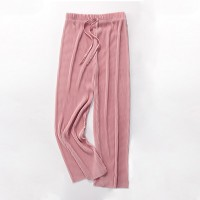 Elastic Waist Ribbed Loose Wear Toe Length Trouser - Pink