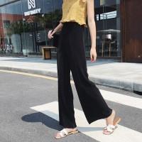 Elastic Waist Ribbed Loose Wear Toe Length Trouser - Black