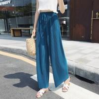 Elastic Waist Ribbed Loose Wear Toe Length Trouser - Blue