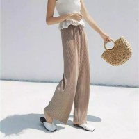 Elastic Waist Ribbed Loose Wear Toe Length Trouser - Khaki