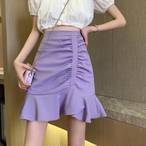 Ruffled Hem Solid Color Women Fashion Skirt - Purple