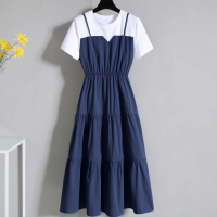 Round Neck Contrast Blue and White Doll Dress