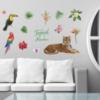 Tropical Tiger Wall Sticker For Bedroom Living Room