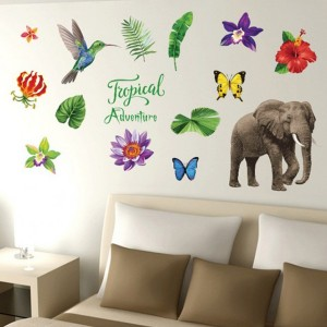 Tropical Elephant Wall Sticker For Bedroom Living Room