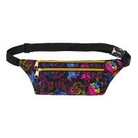 Floral Design Adjustable Strap Zipper Closure Sports Travel Bag - Floral