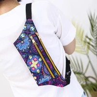 Floral Design Adjustable Strap Zipper Closure Sports Travel Bag - Blue
