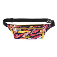 Floral Design Adjustable Strap Zipper Closure Sports Travel Bag - Multicolor