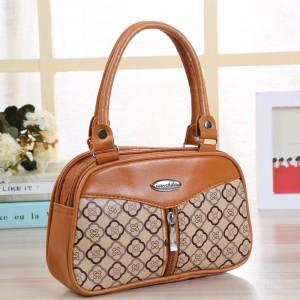 Synthetic Leather Closure Zipper Double Handle Women Handbag - Brown