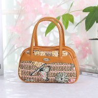Synthetic Leather Closure Zipper Double Handle Solid Color Women Handbag - Yellow