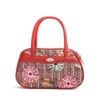 Synthetic Leather Closure Zipper Double Handle Solid Color Women Handbag - Red