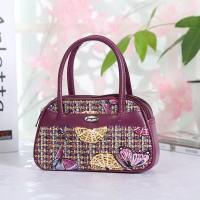 Synthetic Leather Closure Zipper Double Handle Solid Color Women Handbag - Purple