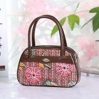 Synthetic Leather Closure Zipper Double Handle Solid Color Women Handbag - Dark Brown