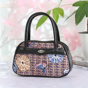 Synthetic Leather Closure Zipper Double Handle Solid Color Women Handbag - Black