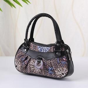 Synthetic Leather Closure Zipper Double Handle Large Capacity Women Handbag - Black