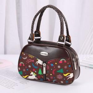 Synthetic Leather Solid Color Double Handle Women Fashion Handbag - Dark Coffee