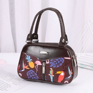 Synthetic Leather Solid Color Double Handle Women Fashion Handbag - Brown