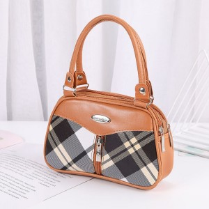 Synthetic Leather Solid Color Double Handle Women Fashion Handbag - Light Brown