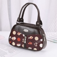 Synthetic Leather Solid Color Double Handle Women Fashion Handbag - Brown Black