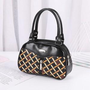 Synthetic Leather Solid Color Double Handle Women Fashion Handbag - Multicolor