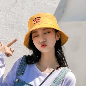 Women Fashion Sun Protection Coconut Trees Folding UV Hat - Yellow