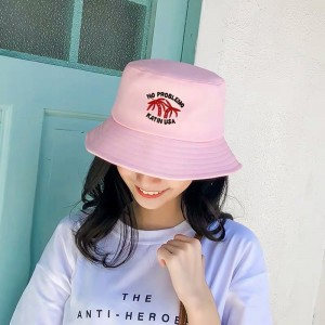 Women Fashion Sun Protection Coconut Trees Folding UV Hat - Pink