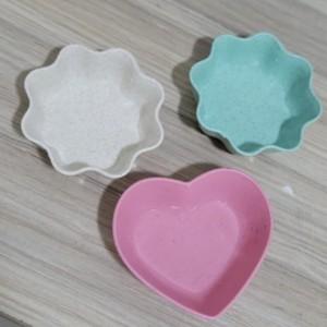 Cute Mini Pigments Bowl Wheat Straw Plastic Soy Sauce Tray 3 PCs Set