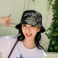 Women Fashion Sun Protection Alphabet Folding UV Hat - Black