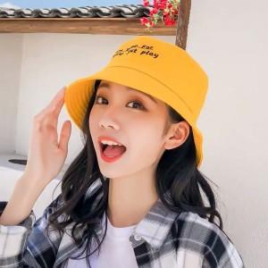 Women Fashion Sun Protection Alphabet Folding UV Hat - Yellow