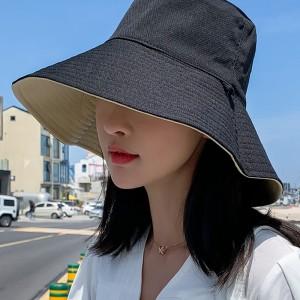 Women Fashion Face Sun Protection UV Shading Hat  - Black