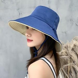 Women Fashion Face Sun Protection UV Shading Hat - Blue