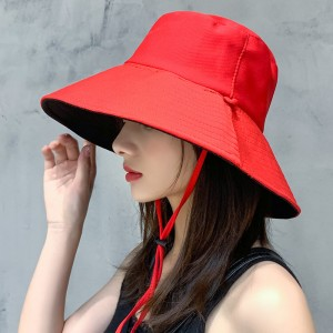 Women Fashion Face Sun Protection UV Shading Hat - Red