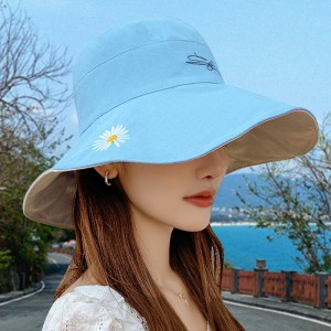 Double Sided Sun Shading Large Sun Protection Hat - Blue