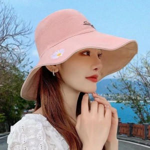 Double Sided Sun Shading Large Sun Protection Hat - Pink