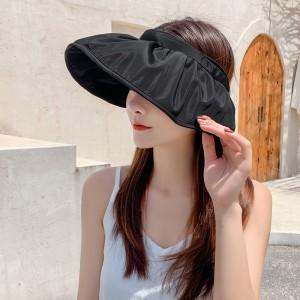 Simple Folding Multi Function Hair Card Type Sunscreen Cap - Black