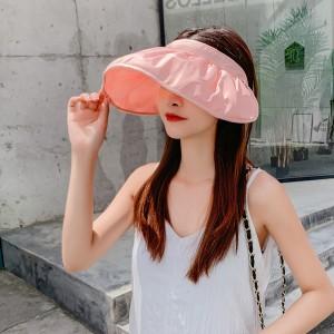 Simple Folding Multi Function Hair Card Type Sunscreen Cap - Pink