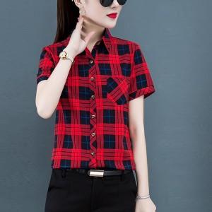Geometric Print Shirt Collar Fashion Wear Shirt - Red