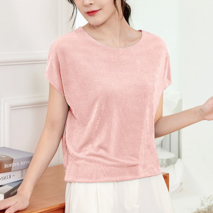 Solid Color Women Fashion Round Neck Blouse Top - Pink