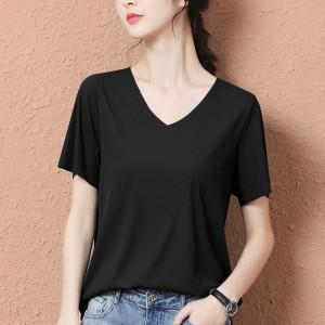 V Neck Short Sleeves Solid Color Women Blouse Top - Black