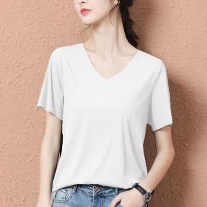 V Neck Short Sleeves Solid Color Women Blouse Top - White