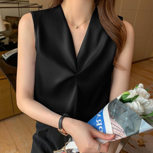 Knotted V Neck Sleeveless Solid Color Blouse Top - Black