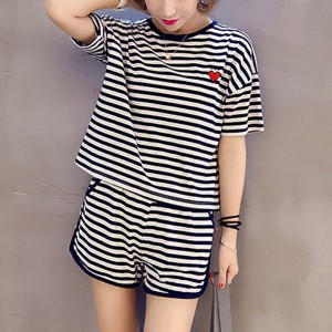 Sports Wear Stripes Print Two Pieces Suit - Black and White