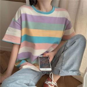 Round Neck Stripes PRinted Loose Wear Top - Multicolor