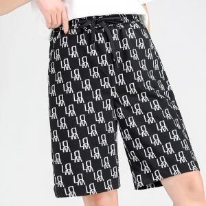 Alphabetic Print String Waist Designers Fashion Shorts - Black